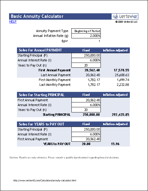 Basic Annuity Calculator