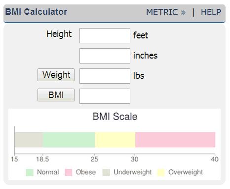 Online BMI Calculator – Bmi Index Chart Template