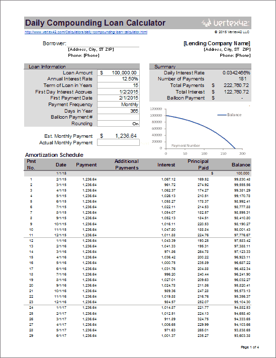 simple interest amortization daily compounding loan calculator
