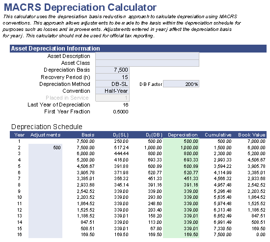 Free MACRS Depreciation Calculator for Excel – Depreciation Worksheet