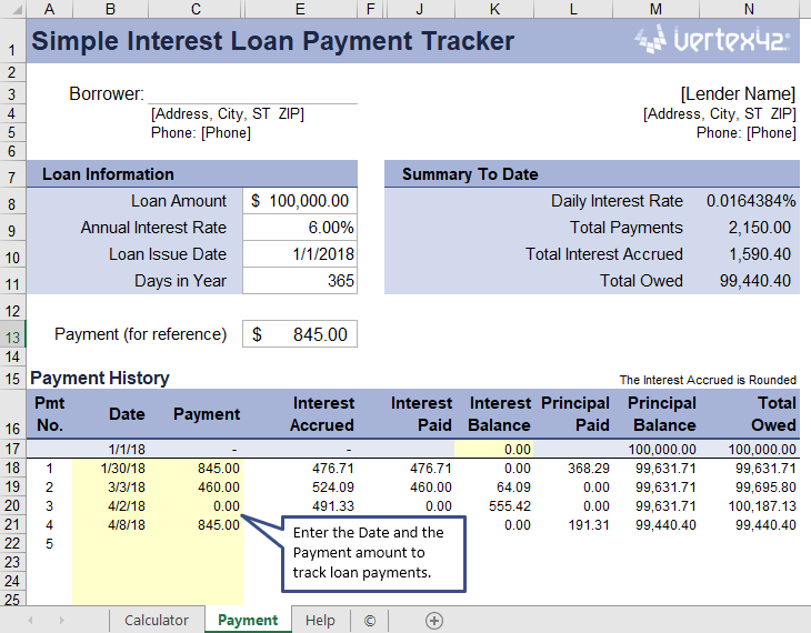 Simple Interest Loan Payment Tracker