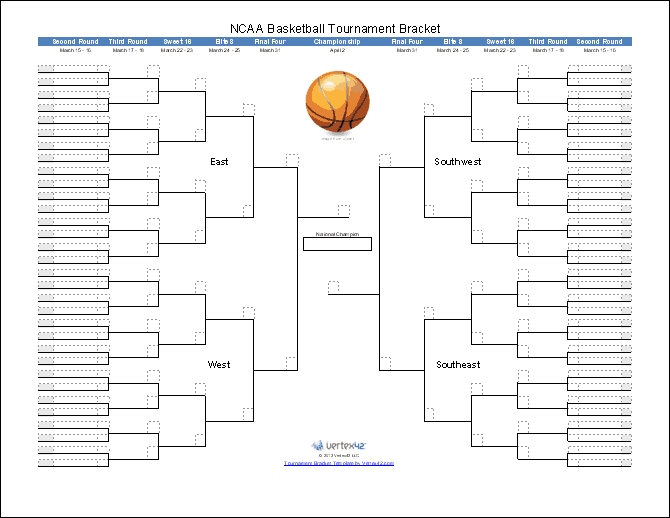 photograph relating to Printable Ncaa Bracket With Times and Channels referred to as Match Bracket Templates for Excel - 2019 March Insanity