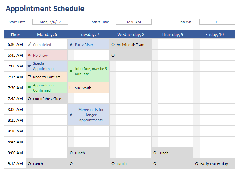 Appointment Schedule Template for Excel