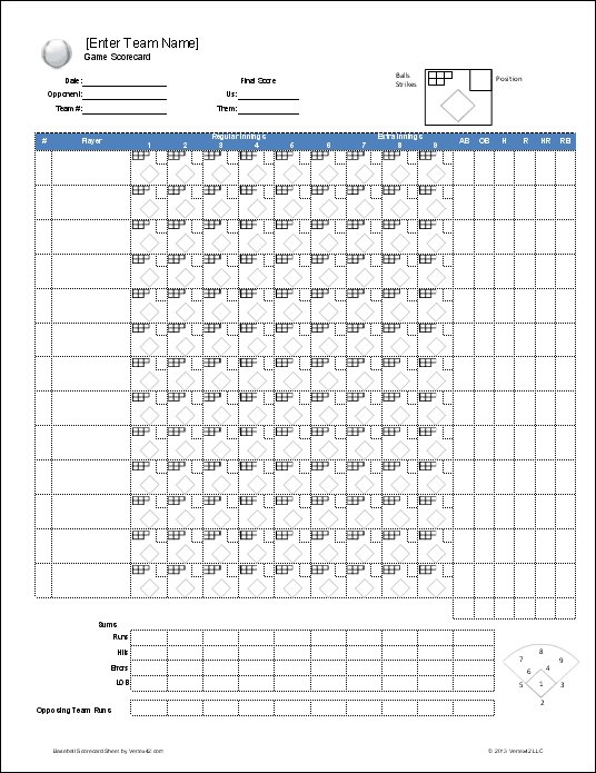 baseball scorecard sheet