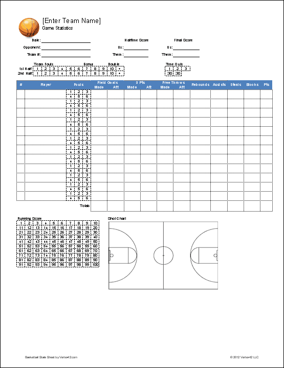 graphic relating to Printable Basketball Stat Sheet called Basketball Employees Roster Template for Excel