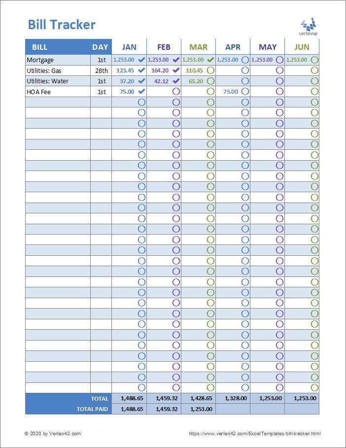Bill Tracker Worksheet