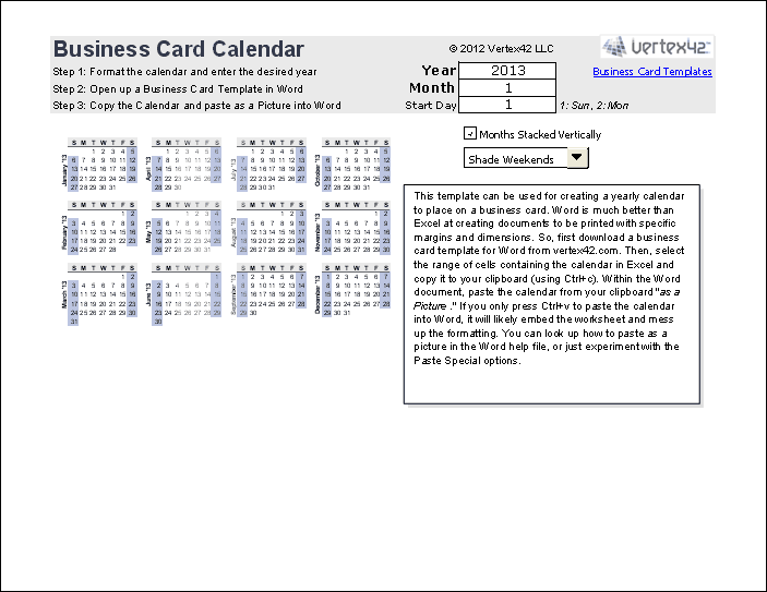Print A Yearly Calendar On A Business Card - Excel business card template