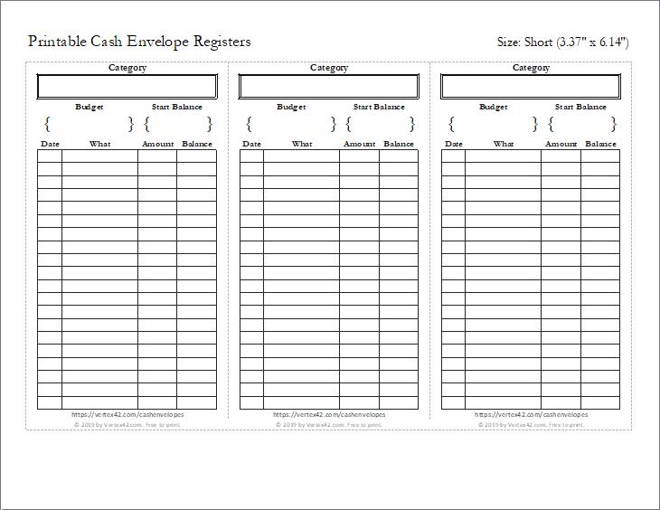 Cash Envelope Register (Short)