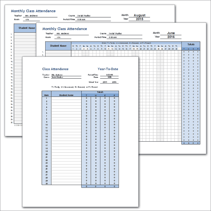 Class Attendance Template Full School Year – Weekly Attendance Template
