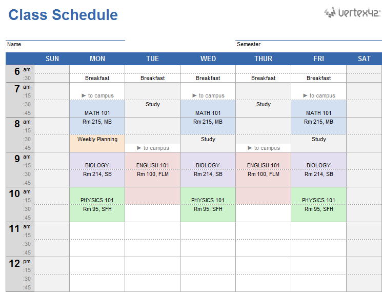 Weekly class schedule template for excel for College school schedule template