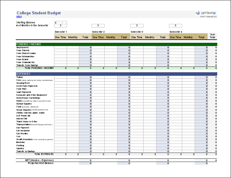 College Budget Template For Excel Student Worksheet