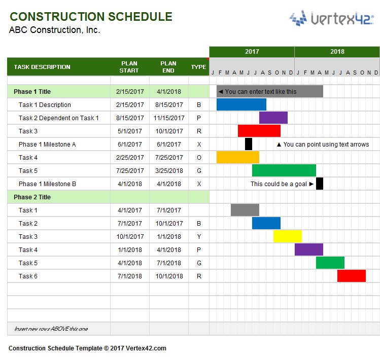 Free Gantt Chart Template for Excel – Construction Work Schedule Templates Free