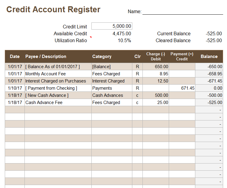 Credit account register template for Real estate trust account ledger template