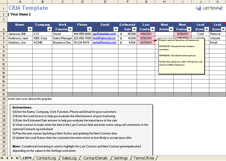 Excel Spreadsheet Template | Free Excel Crm Template For Small Business
