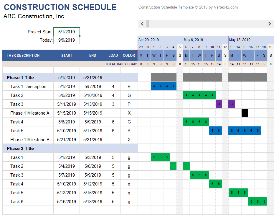 Daily Construction Schedule with Work Loading
