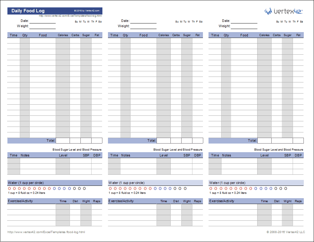 Food Log Template Printable Daily Food Log