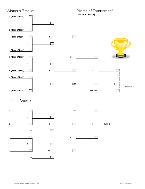 8 team double elimination tournament bracket template for Tournament spreadsheet template