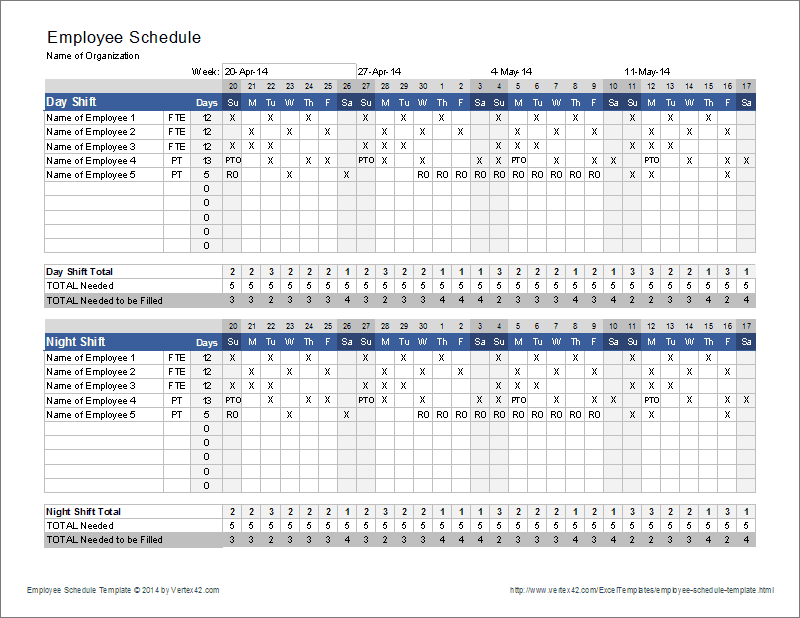 Employee Schedule Template - Print Preview