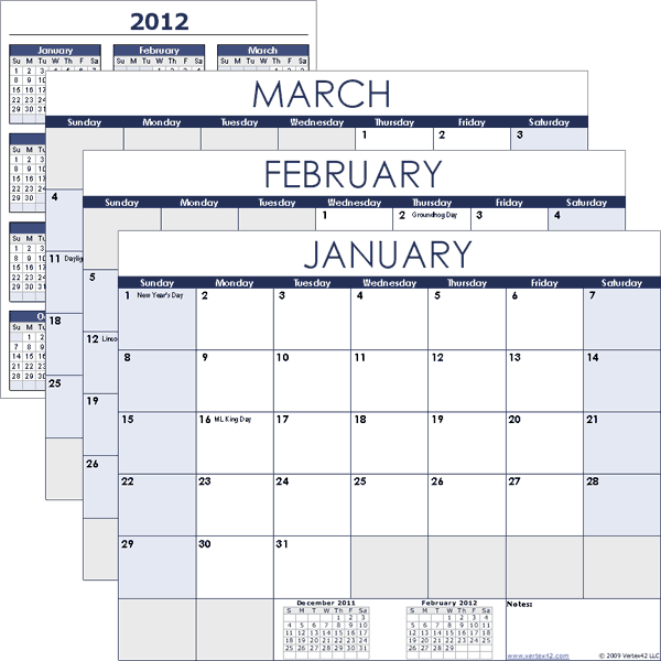 2013 Excel Monthly Calendar Template