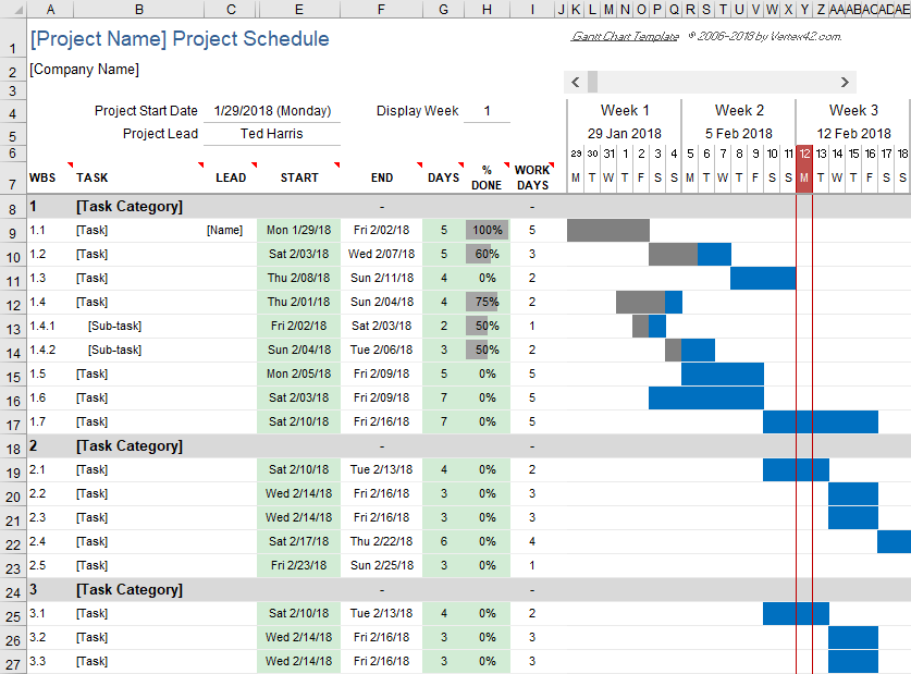 Free gantt chart template for excel free excel gantt chart template ccuart Image collections