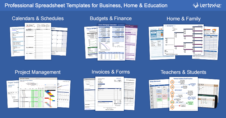 Free excel templates and spreadsheets excel spreadsheet templates by vertex42 friedricerecipe Gallery