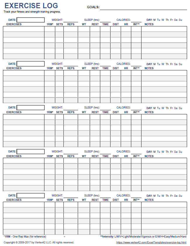 printable exercise log 5 day