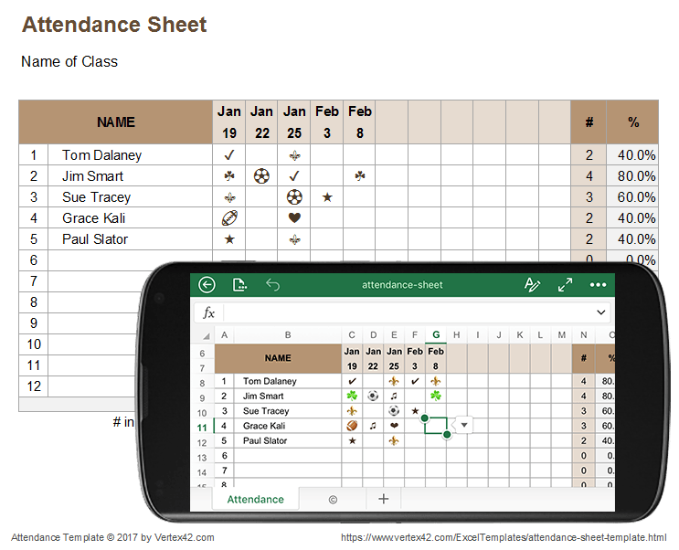 attendance sheet for excel mobile and online