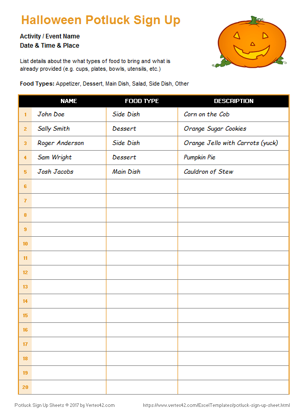 photograph relating to Printable Potluck Sign Up Sheet identified as Potluck Indication Up Sheets for Excel and Google Sheets