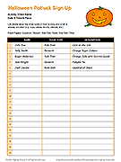 Halloween Potluck Sign Up Sheet