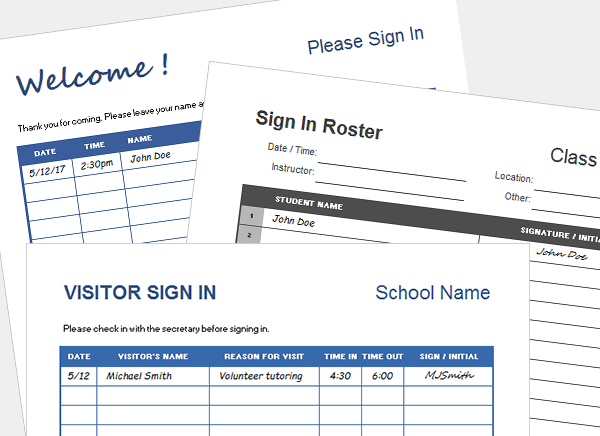 Printable Sign In Sheet Visitor Class And Meeting Sign In Sheets