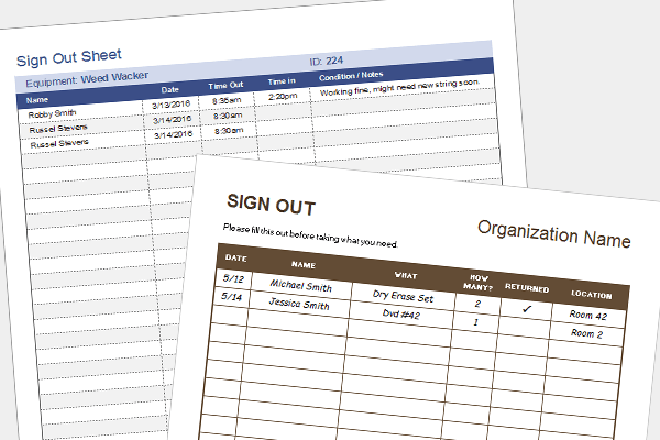 Equipment Sign Out Sheet Tool Check Out Form