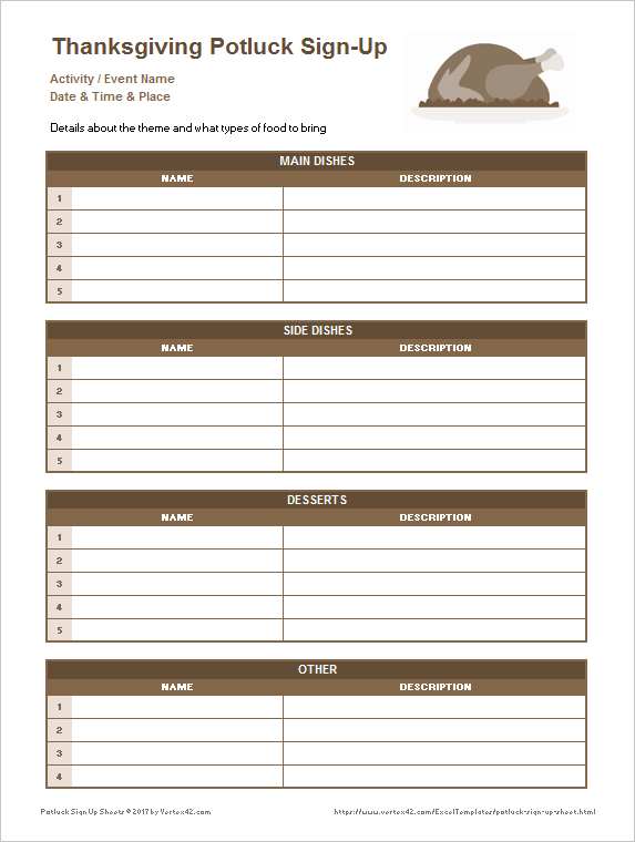 Thanksgiving Potluck Sign Up Sheet