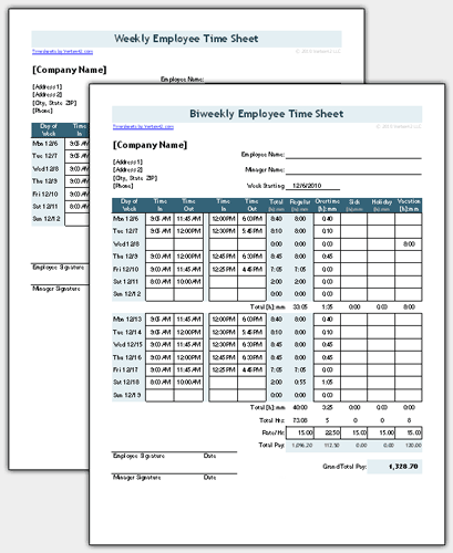 Time Sheet Template for Excel Timesheet Calculator – Free Timesheet Forms
