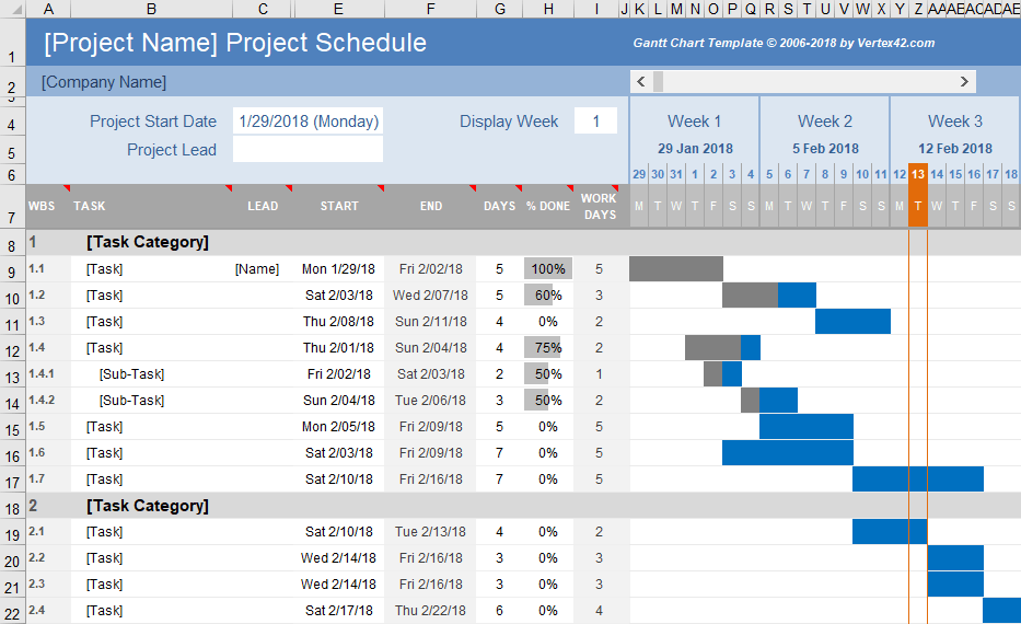 Free gantt chart template for excel free excel gantt chart design 2 ccuart Image collections