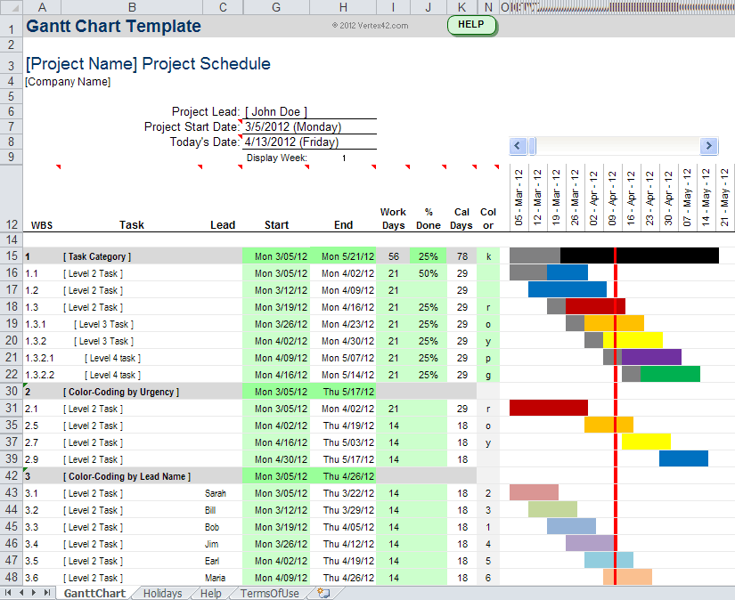 Gannt Chart Template for Excel 2007 and 2010+ (XLSX)