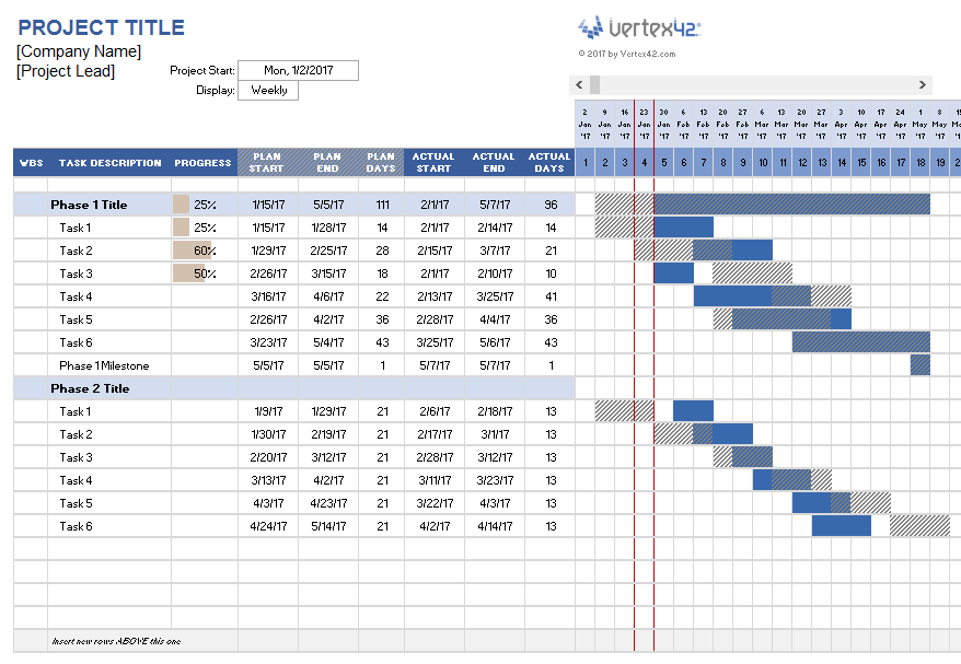 project plan timeline excel template