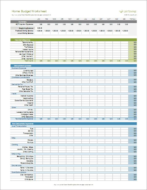 Home Budget Worksheet