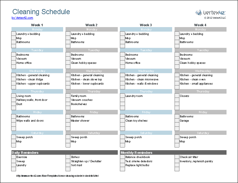 Cleaning schedule template printable house cleaning for Janitorial schedule template