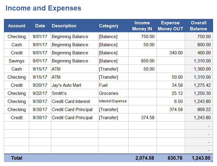 income and expense template