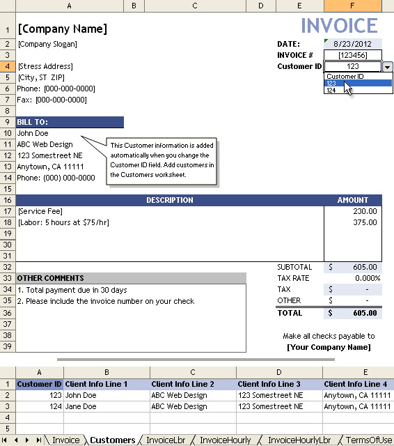 Service Invoice With Customer List  Service Invoice Template Excel