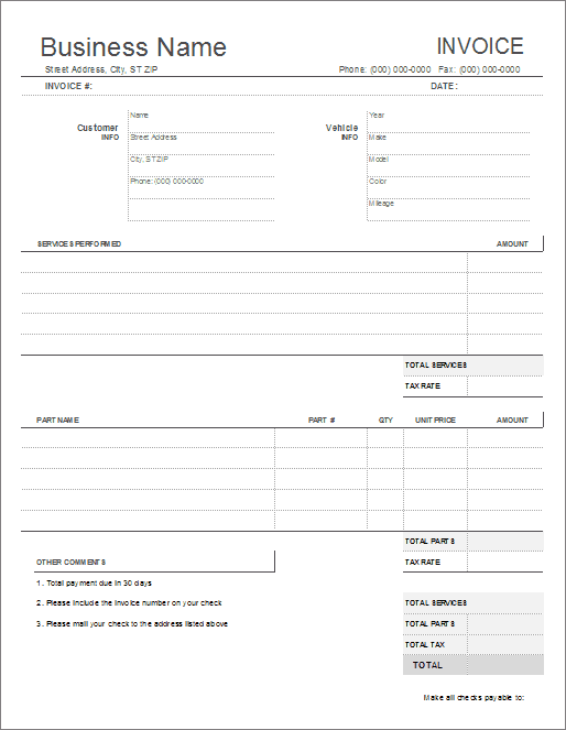 Auto Repair Invoice Template for Excel – Print Blank Invoice