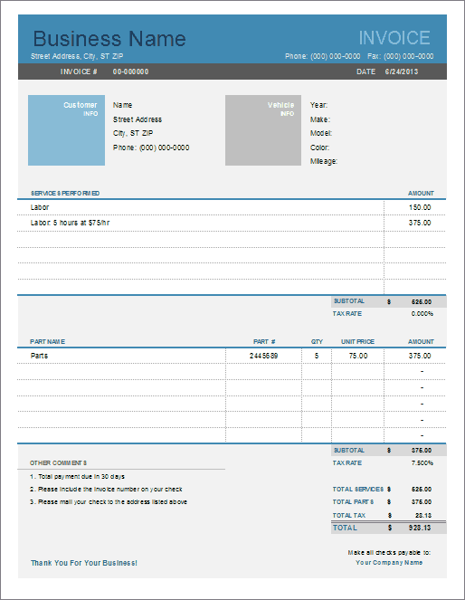 Auto Repair Invoice Template  Customer Invoice Template Excel