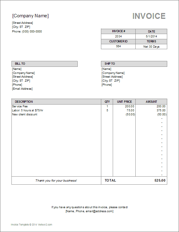 Billing Invoice Template For Excel - Payment invoice template free