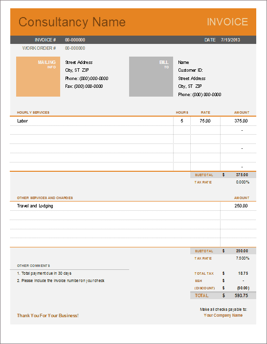 Consultant Invoice Template For Excel - Consulting hours invoice template