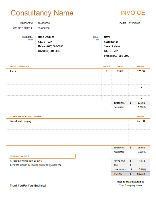 Consultant Invoice Template For Excel - Format for invoice for services for service business