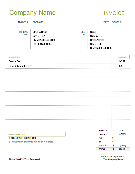 Simple Invoice Template For Excel Free - Customer invoice template