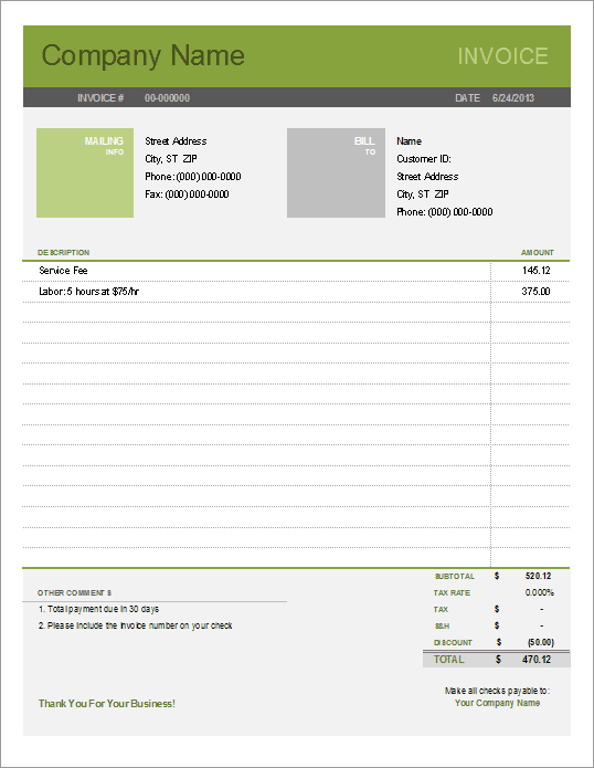 Simple Invoice Template For Excel Free - Free invoice templetes for service business