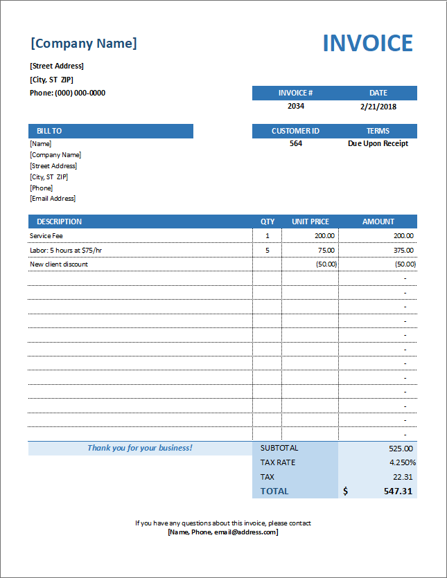 Service Invoice Template For Consultants And Service Providers - Invoice for services template