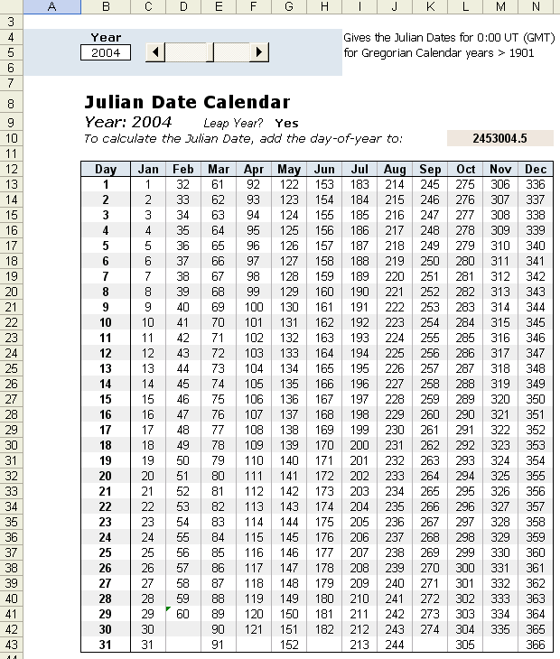Year To Date Calendar : Julian date calendar in excel