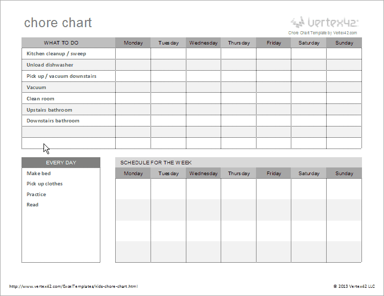 Free kids chore chart template for House chore schedule template